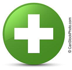 Plus icon soft green round button