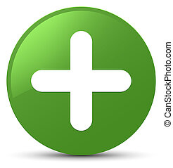 Plus icon soft green round button