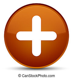 Plus icon special brown round button