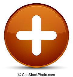 Plus icon special brown round button