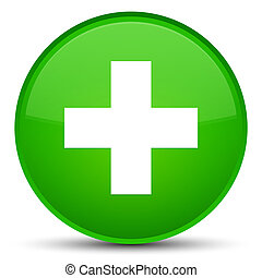 Plus icon special green round button