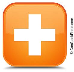 Plus icon special orange square button
