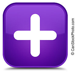 Plus icon special purple square button