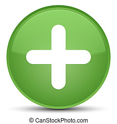 Plus icon special soft green round button