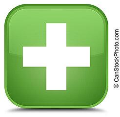 Plus icon special soft green square button