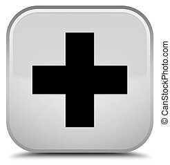 Plus icon special white square button