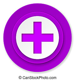 plus icon, violet button, cross sign