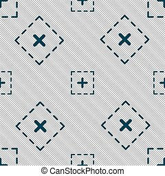 Plus in square icon sign. Seamless pattern with geometric texture. Vector