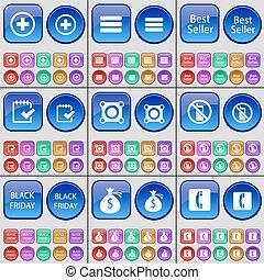 Plus, List, Best seller, Survey, Speaker, Mobile phone, Black friday, Money bag, Receiver. A large set of multi-colored buttons. Vector