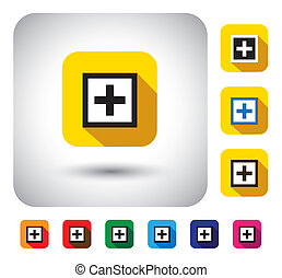 plus mark sign on button - flat design vector icon