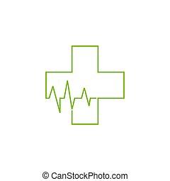 plus medical thin line heart pulse symbol logo vector
