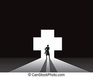 plus, medyczny, kobieta, drzwi, handlowy