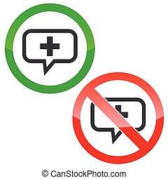 Plus message permission signs