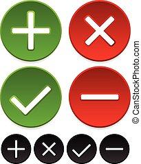 Plus, minus, checkmark and cross graphics Plus, minus, checkmark and cross graphics