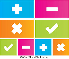 plus, minus, cross, check icons - suitable for user...