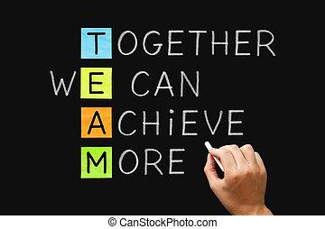 plus, nous, boîte, ensemble, réaliser, équipe