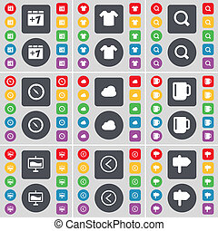 Plus one, T-Shirt, Magnifying glass, Compass, Cloud, Cup, Graph, Arrow left, Signpost icon symbol. A large set of flat, colored buttons for your design.