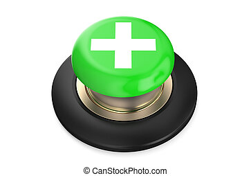 plus or cross green push button, 3D rendering