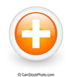 plus orange glossy web icon on white background