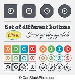 Plus, Positive  icon sign Big set of colorful, diverse, high-quality buttons. Vector
