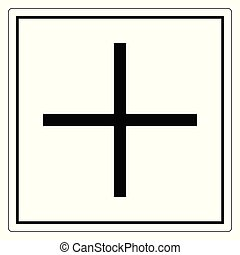 Plus Positive Polarity Symbol Sign, Vector Illustration,...