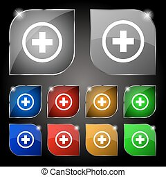 Plus, Positive, zoom icon sign. Set of ten colorful buttons with glare. Vector