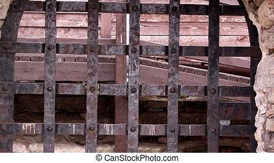 plus proche, vieux, regard, métal, rouillé, portail, château