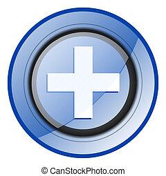 Plus round blue glossy web design icon isolated on white background