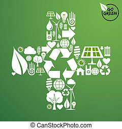 Plus shape with green icons background