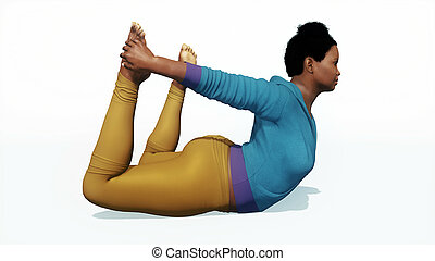 Plus size african woman in bow pose yoga