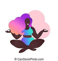 Plus size black curvy lady doing yoga class. Vector ...