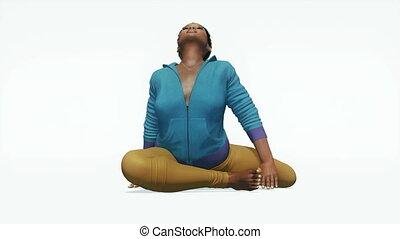 Plus size black woman yoga pose close up 4K