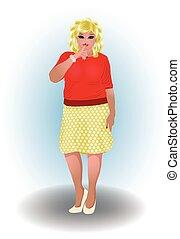 Plus size blonde woman, vector