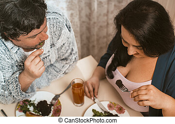 Plus Size Couple Taste Wholesome Food - Body Positive Woman ...