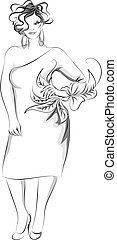 Plus-size fashion illustration - Vector illustration of...