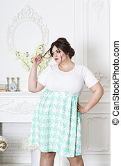 Plus size fashion model, fat woman on luxury interior, overweight female body