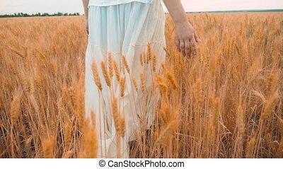 Plus size fashion model in slow motion video walking on...