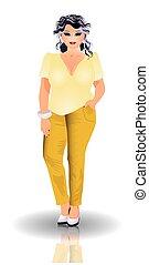 Plus size  fashion woman, vector illustration