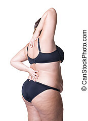 Plus size model in black lingerie, overweight female body, fat woman with cellulitis on thighs, isolated on white background