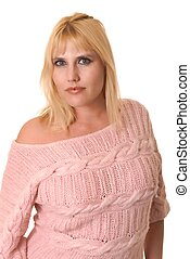 Plus Size Model - Plus size lovely blond girl isolated over ...
