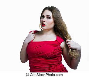 plus size model - sexy plus size model against white...