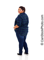 plus size woman looking back
