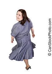 Plus Sized Model Twirl - Beautiful plus sized model twirling...