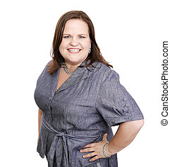 A confident, beautiful plus sized businesswoman. Isolated on white.