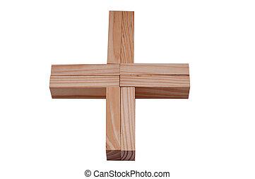 Plus symbol made a wooden blocks
