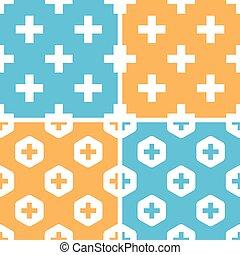 Plus symbol pattern set, colored