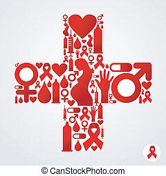 Plus symbol with AIDS icon - Plus symbol silhouette made...