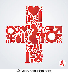Plus symbol with AIDS icon