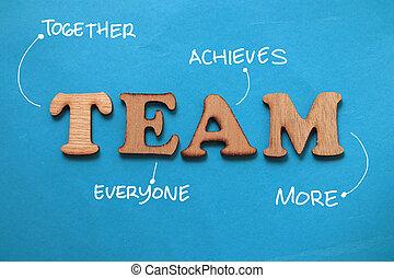 plus, typographie, inspirationnel, bleu, contre, business, motivation, vie, ensemble, everyone, texte écrit, papier, fond, équipe, réalise, mots