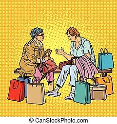plus vieux, achats, petites amies, femmes